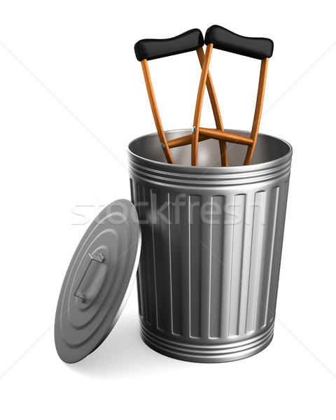 crutches in garbage basket on white background. Isolated 3D illu Stock photo © ISerg