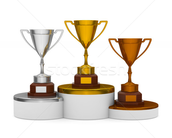 Podio trofeo taza blanco aislado 3D Foto stock © ISerg
