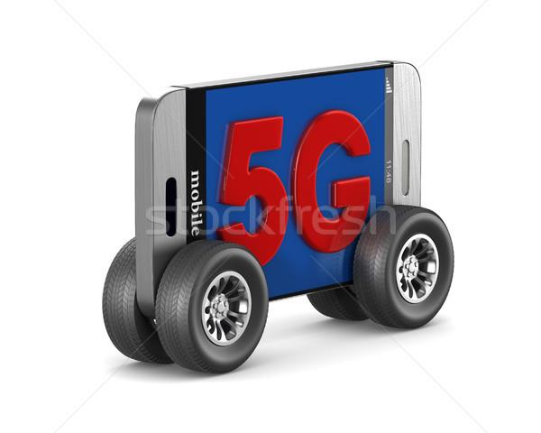 5G phone on white background. Isolated 3D illustration Stock photo © ISerg