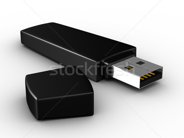 Usb Flash weiß isoliert 3D Bild Stock foto © ISerg