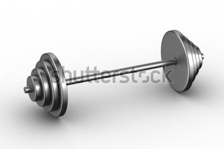 Foto stock: Barra · con · pesas · blanco · aislado · 3D · imagen · músculo
