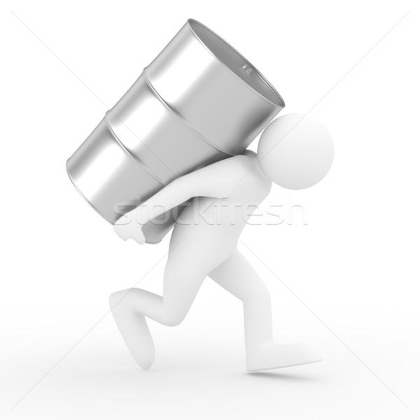 men carry vat on back. Isolated 3D image Stock photo © ISerg
