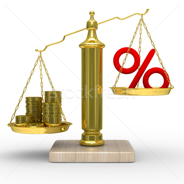 Cashes and percent on weights. Isolated 3D image Stock photo © ISerg