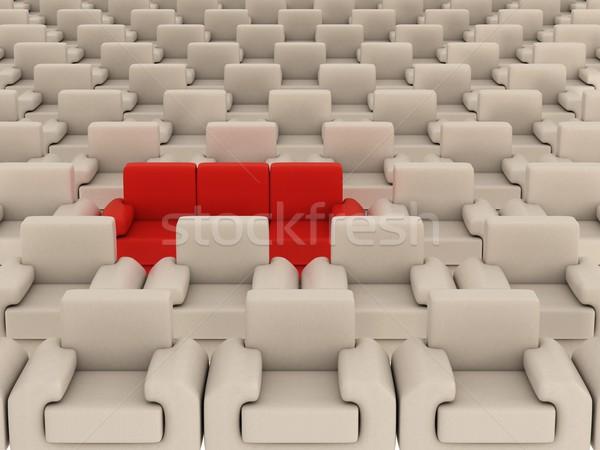 Foto stock: Branco · vermelho · sofá · 3D · imagem