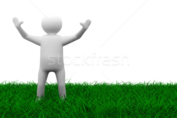Stock photo: happy man on grass. Isolated 3D image