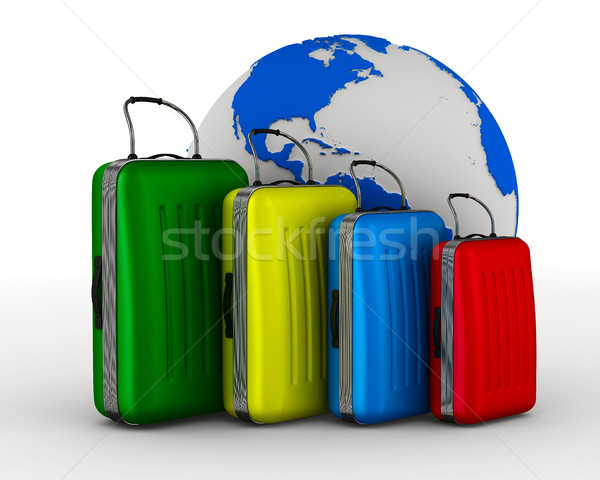 Stock photo: Travel bags on white background. Isolated 3D image
