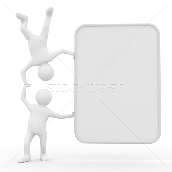 Stock photo: two man holds the poster in hand. 3D image