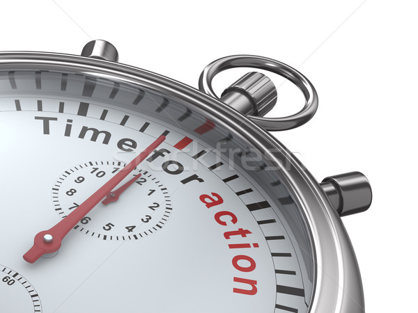 Time for action. Stopwatch on white background. Isolated 3D imag Stock photo © ISerg