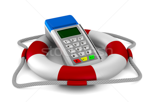 lifebuoy and pos terminal on white background. Isolated 3D image Stock photo © ISerg