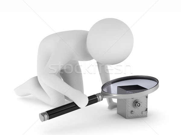 Man with magnifier on white background. Isolated 3D image Stock photo © ISerg