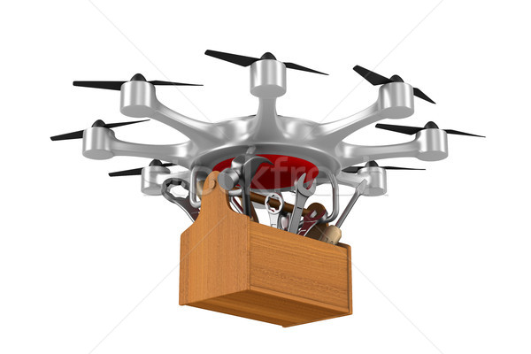 octocopter with toolbox on white background. Isolated 3d illustr Stock photo © ISerg