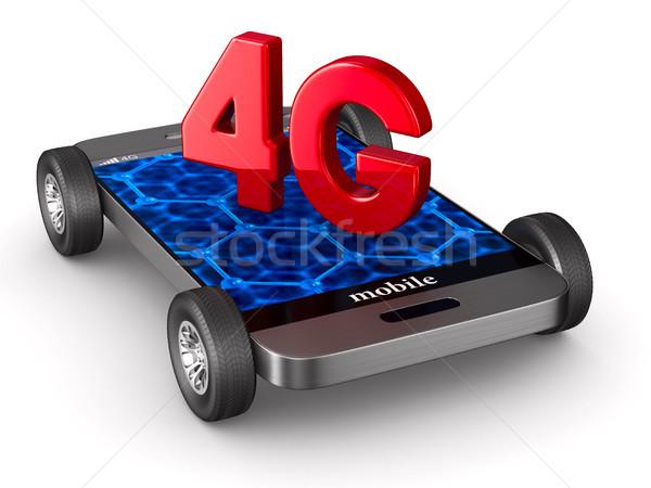 4g телефон белый изолированный 3d иллюстрации веб Сток-фото © ISerg