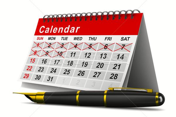 Calendar and pen on white background. Isolated 3D image Stock photo © ISerg