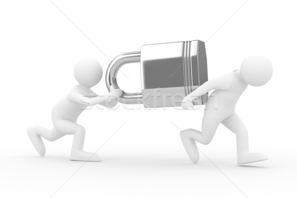 two men carry lock on back. Isolated 3D image Stock photo © ISerg