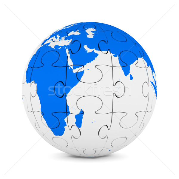 Globe from puzzle on white background. Isolated 3D image Stock photo © ISerg