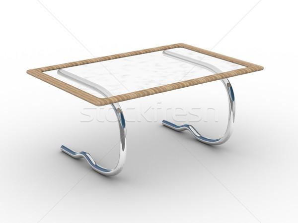 Stockfoto: Glas · weinig · tabel · witte · 3D · afbeelding