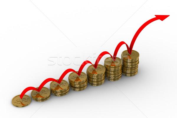 Stockfoto: Diagram · groei · 3D · afbeelding · geïsoleerd · illustratie