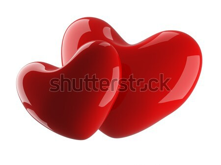 Two isolated heart on a white background. 3D image.  Stock photo © ISerg