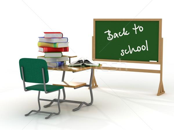 Zdjęcia stock: Szkoły · wnętrza · powrót · do · szkoły · 3D · obraz · książek
