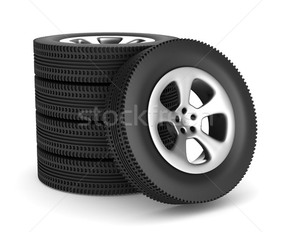 five disk wheel on white background. Isolated 3D image Stock photo © ISerg