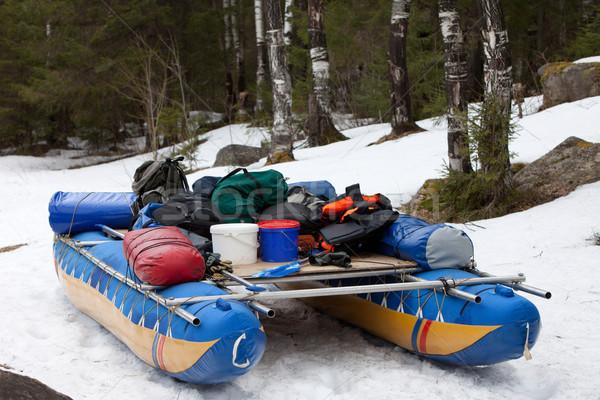 Catamarán pie nieve marco invierno diversión Foto stock © ISerg
