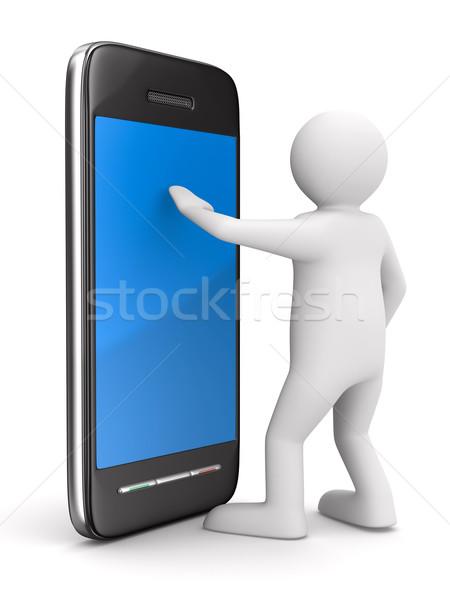 Foto stock: Homem · telefone · branco · isolado · 3D · imagem