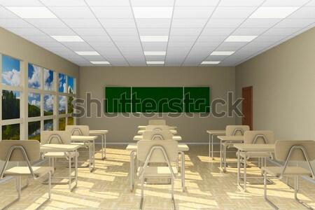 Classe formation 3d illustration maison bois Photo stock © ISerg