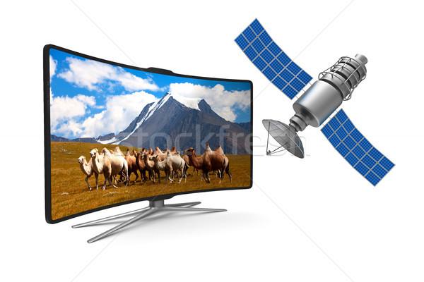 Tv satélite branco isolado ilustração 3d natureza Foto stock © ISerg