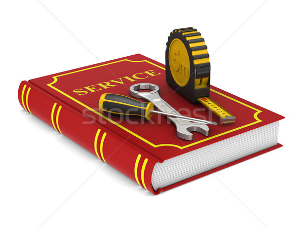 tools and red service book. Isolated 3D illustration Stock photo © ISerg