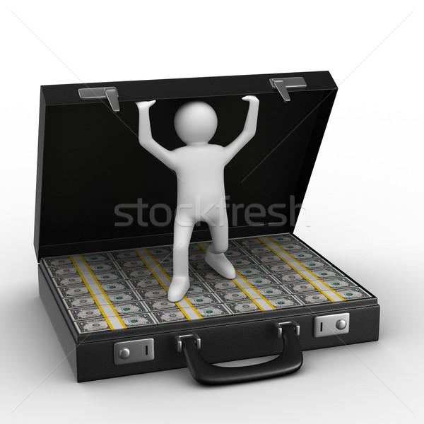 Stok fotoğraf: Açmak · bavul · dolar · beyaz · yalıtılmış · 3D
