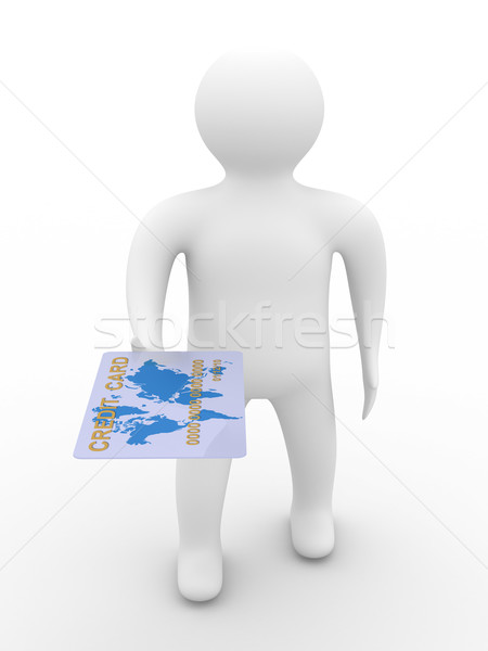 businessman with credit card on white background. 3D image Stock photo © ISerg