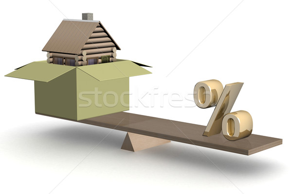 house in box and percent on scales. 3D image. Stock photo © ISerg