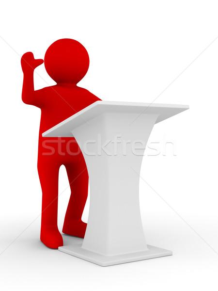 man on tribune. Isolated 3D image on white Stock photo © ISerg
