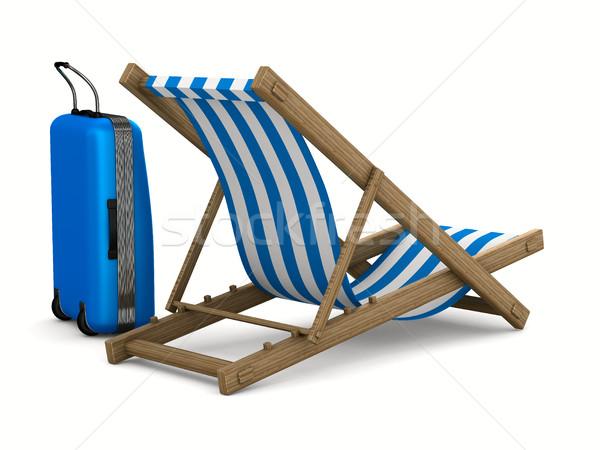 Espreguiçadeira bagagem branco isolado 3D imagem Foto stock © ISerg