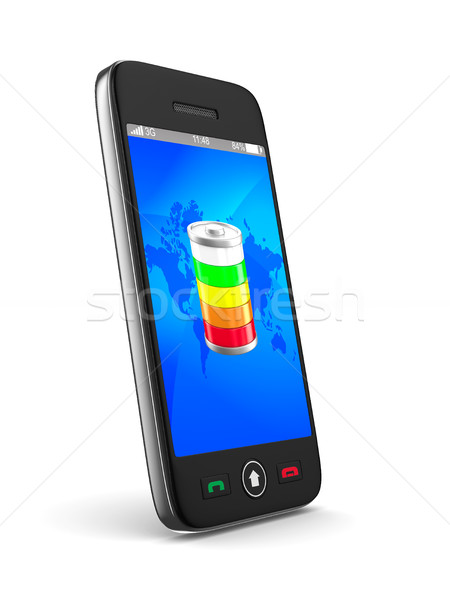 Telefone branco isolado 3D imagem móvel Foto stock © ISerg