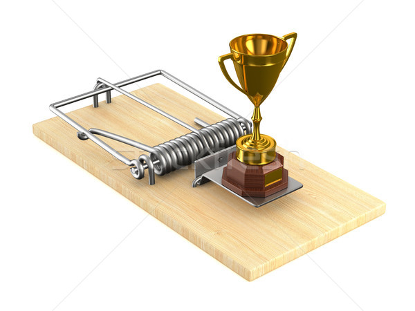 Gold cup winner and mousetrap on white background. Isolated 3D i Stock photo © ISerg