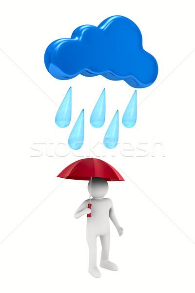 Foto stock: Homem · guarda-chuva · branco · isolado · ilustração · 3d · chuva