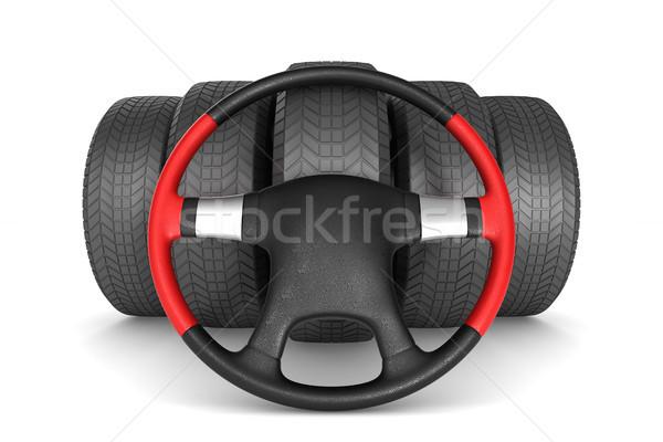 steering wheel and tire on white background. Isolated 3D illustr Stock photo © ISerg