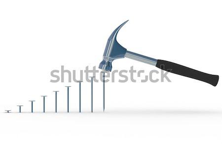 hammer in nails. Isoladet 3D image Stock photo © ISerg