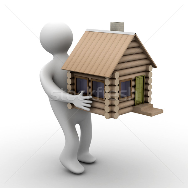 Stock photo: house in a gift. 3D image. isolated illustrations