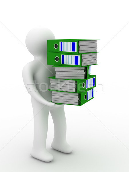 person with accounting folders. Isolated 3D image Stock photo © ISerg
