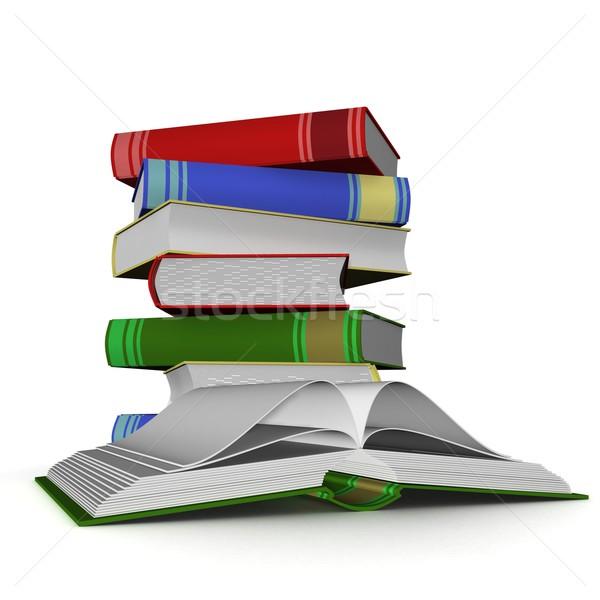 Köteg könyvek 3D izolált kép könyv Stock fotó © ISerg