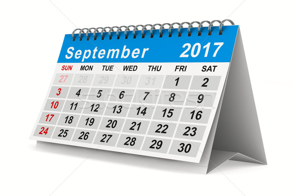 2017 year calendar. September. Isolated 3D image Stock photo © ISerg