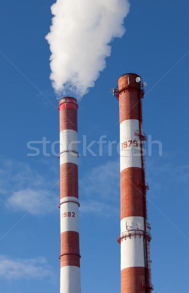 Centrale électrique industrielle production technologie bleu usine Photo stock © ISerg