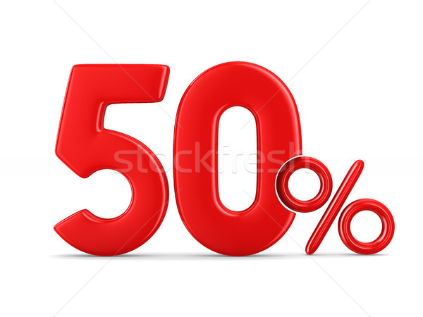 Stock photo: Fifty percent on white background. Isolated 3D illustration
