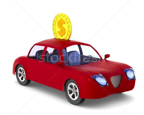 Moneybox. Red car on white background. Isolated 3D illustration Stock photo © ISerg