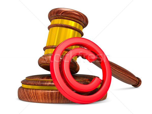 wooden gavel and sign copyright on white background. Isolated 3D Stock photo © ISerg