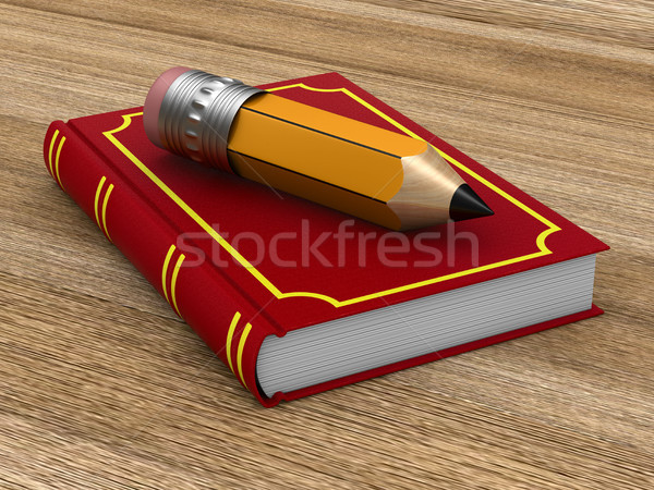 Stok fotoğraf: Kapalı · kırmızı · kitap · ahşap · kalem · yüzey