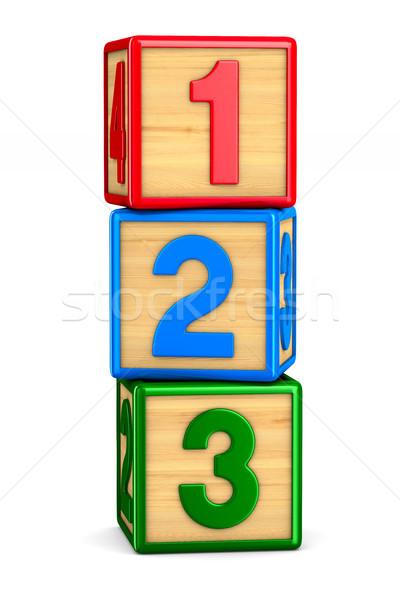 block with number on white background. Isolated 3D illustration Stock photo © ISerg