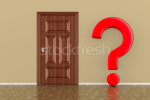 closed wooden door and question in hall. 3D illustration Stock photo © ISerg